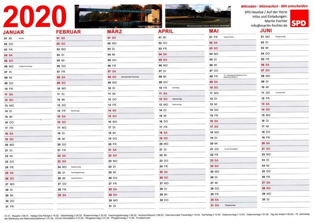Kalender der SPD Havelse/Auf der Horst